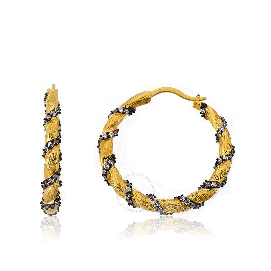Riccova Cosmopolitan Satin 14K Gold Plated Hoop Earring with Cubic Zirconia In Black Rhodium Stripes