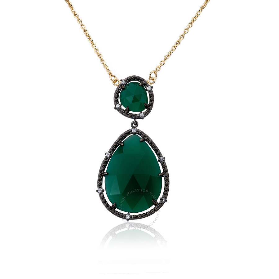 Riccova Gem Stone by Riccova 14K Gold & Black Rhodium Plated Green Agate Gem..