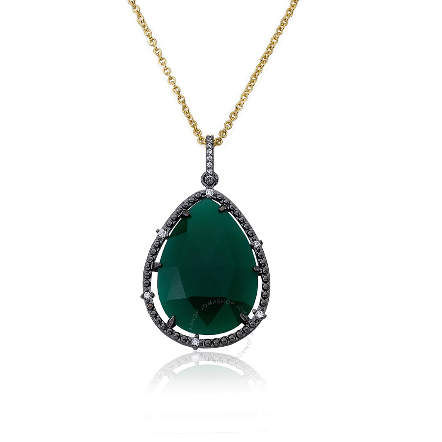 Riccova Gem Stone by Riccova 14K Gold & Black Rhodium Plated Green Agate Tea..