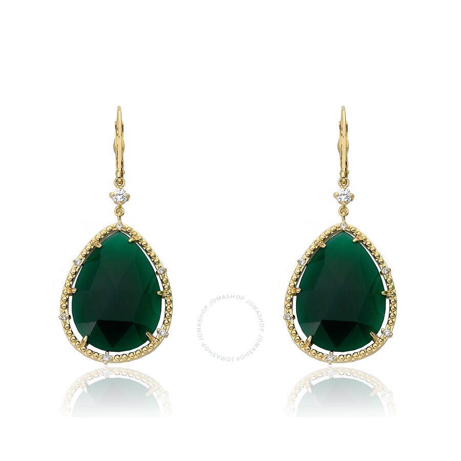 Riccova Gem Stone 14K Gold Plated Cubic Zirconia Trimmed Precious Green Agat..
