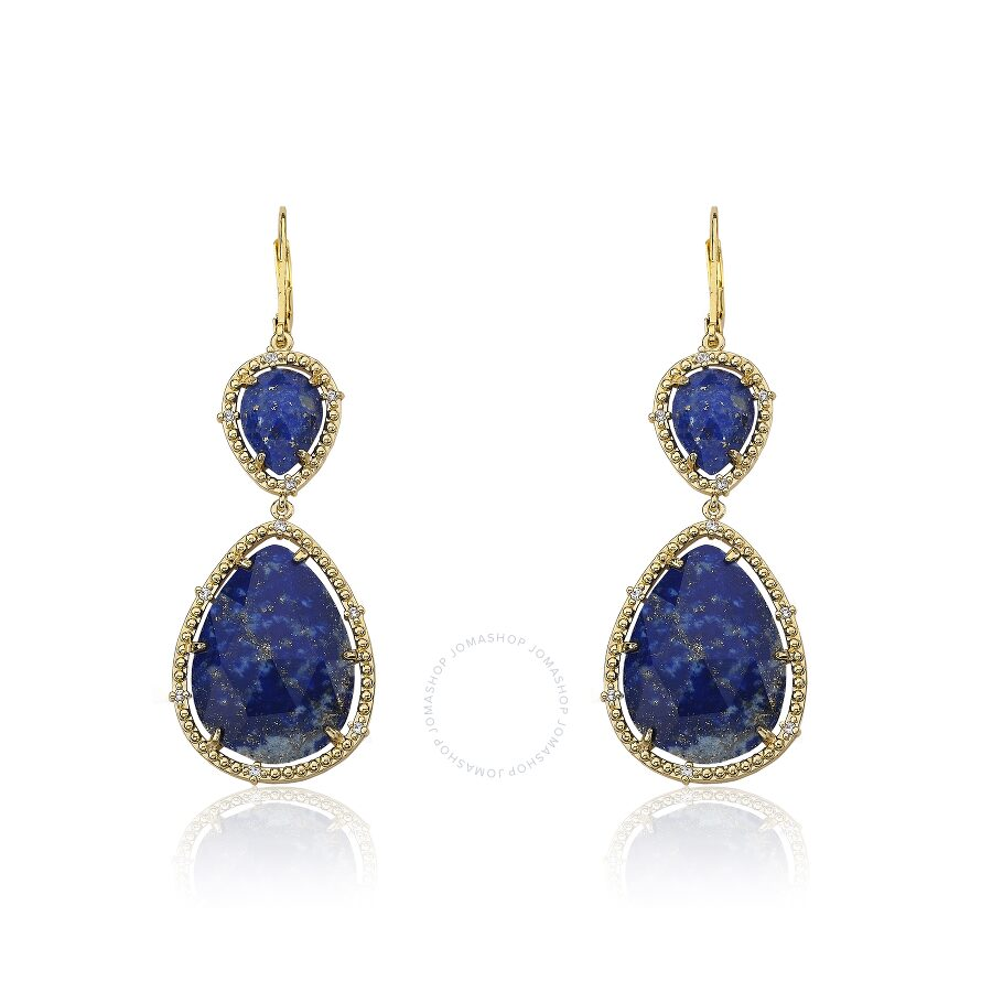 Riccova Gem Stone 14K Gold Plated Cubic Zirconia Trimmed Precious Lapis Double Drop Large Dangle Ear