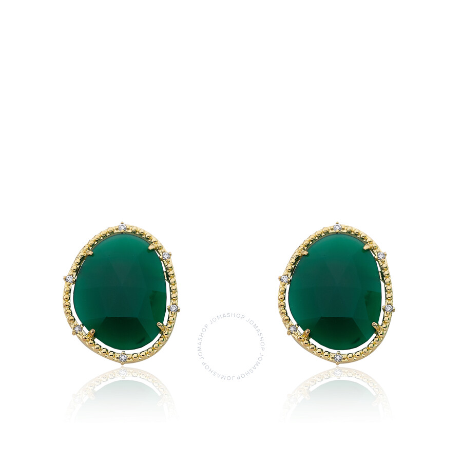 Riccova Gem Stone14k Gold Plated Precious Green Agate Gem Stone Stud Earring