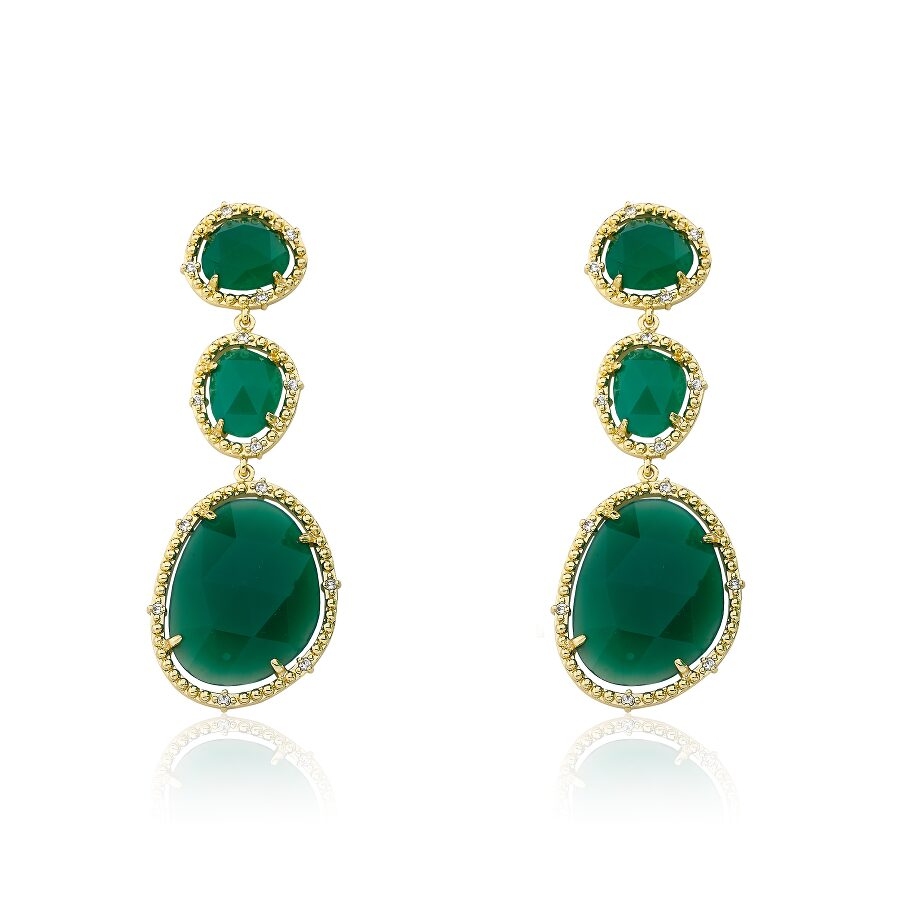 Riccova Gem Stone 14k Gold Plated Triple Drop Green Agate Gem Stone Dangle Earring