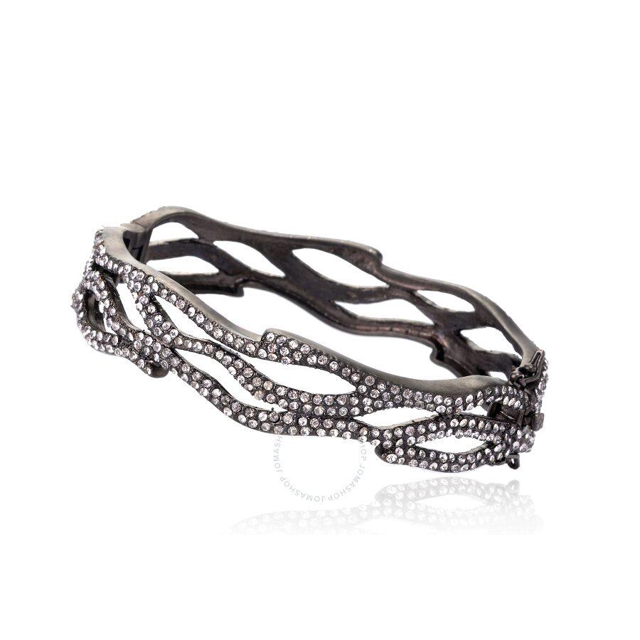 Riccova Harlequin Black Rhodium Crystal Hinged Bangle Bracelet