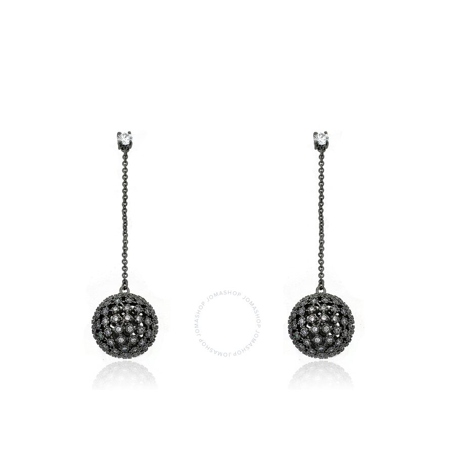 Riccova Harlequin Black Rhodium Plated And Large Cubic Zirconia Ball Long Dangle Earring
