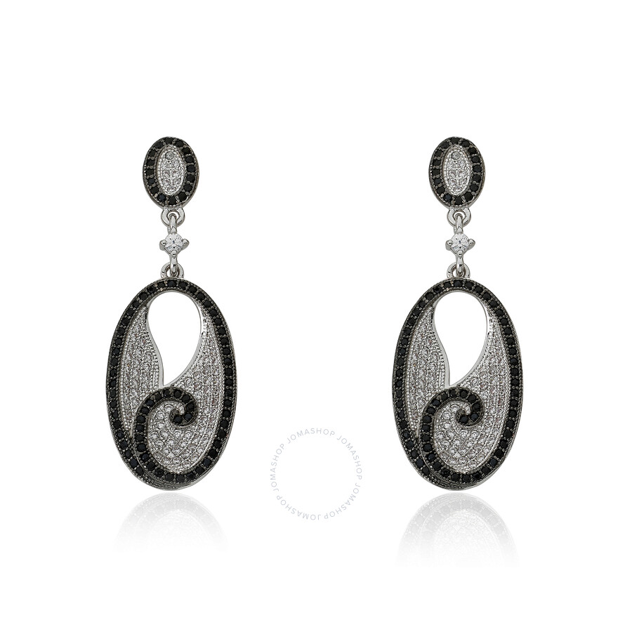 Riccova Micro-Pave Rhodium Plated Micro-Pave Cubic Zirconia Dangle Earring Accented In Black Cubic Z
