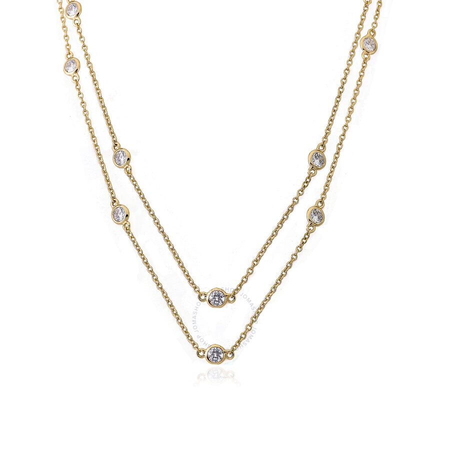 "Riccova Retro 14K Gold Plated Cubic Zirconia By The Yard 60"" Chain Necklace"