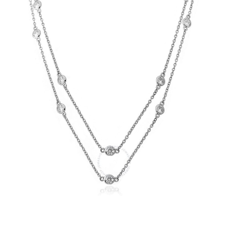 "Riccova Retro Rhodium Plated Cubic Zirconia By The Yard 60"" Chain Necklace"