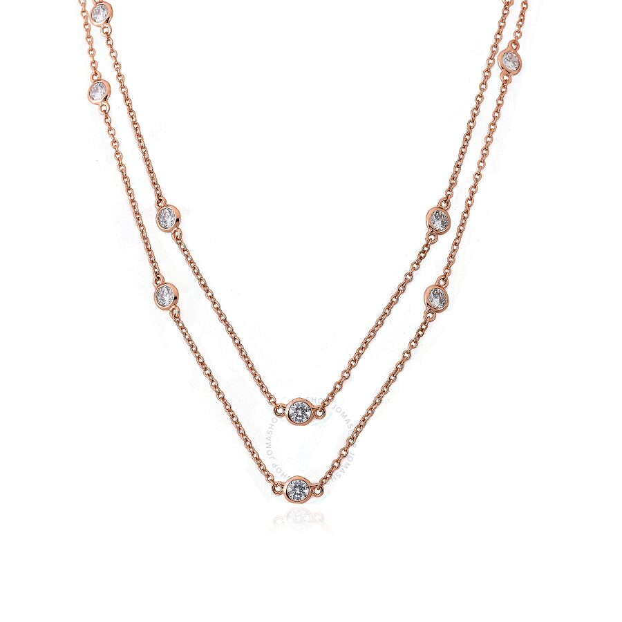 "Riccova Retro Rose Gold Plated Cubic Zirconia By The Yard 60"" Chain Necklace"