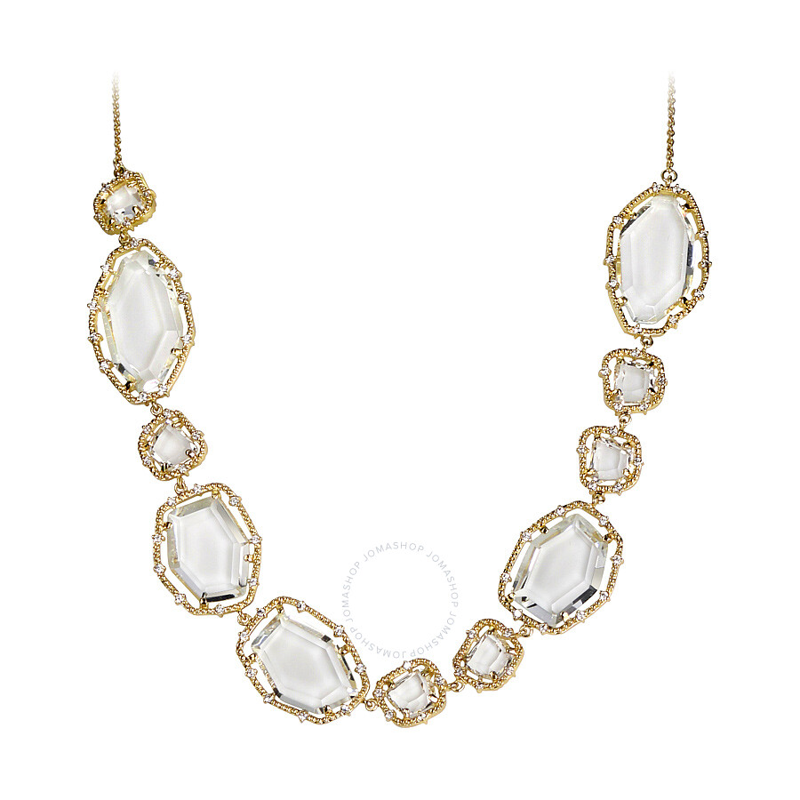 Riccova Sliced Glass 14K Gold Plated Clear Sliced Stones Detailed Necklace