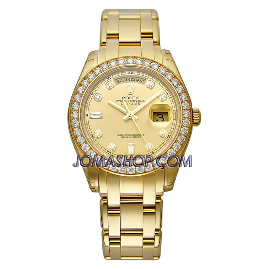Rolex Day Date Champage Diamond Dial 18k Yellow Gold Oyster Bracelet Diamond Bezel Mens Watch 18948C