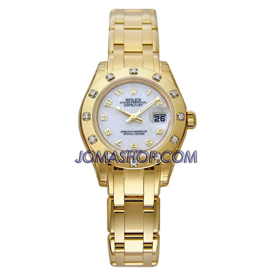 Rolex Lady-Datejust Pearlmaster White Dial Diamond 18K Yellow Gold Watch 80318WAO