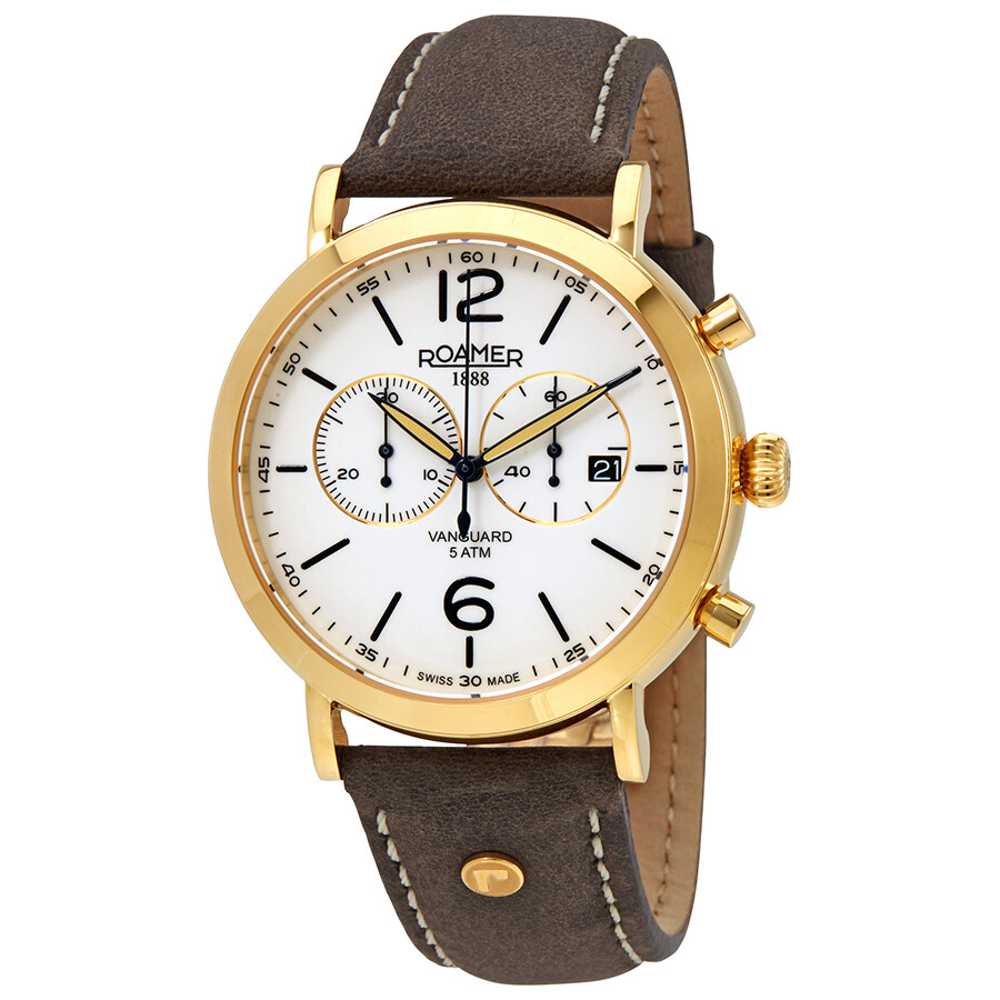 Roamer Vanguard White Dial Mens Chronograph Leather Watch 935951 48 24 09
