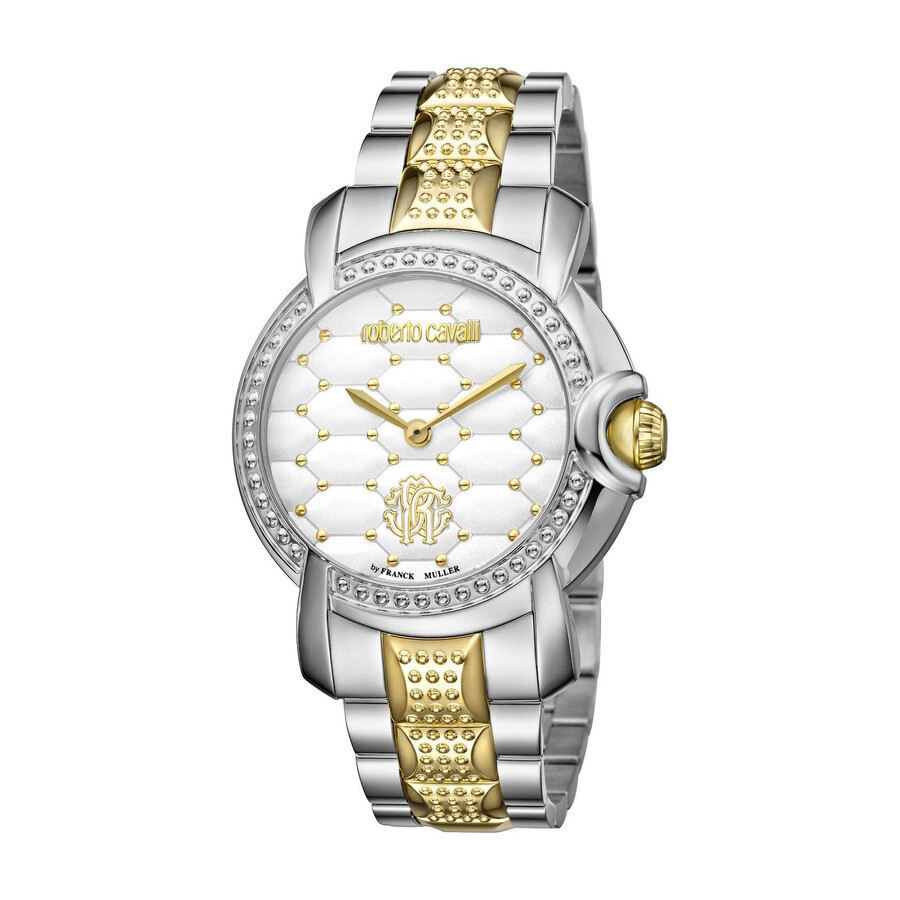 Roberto Cavalli Quilted White Dial Ladies Watch RV1L019M0146