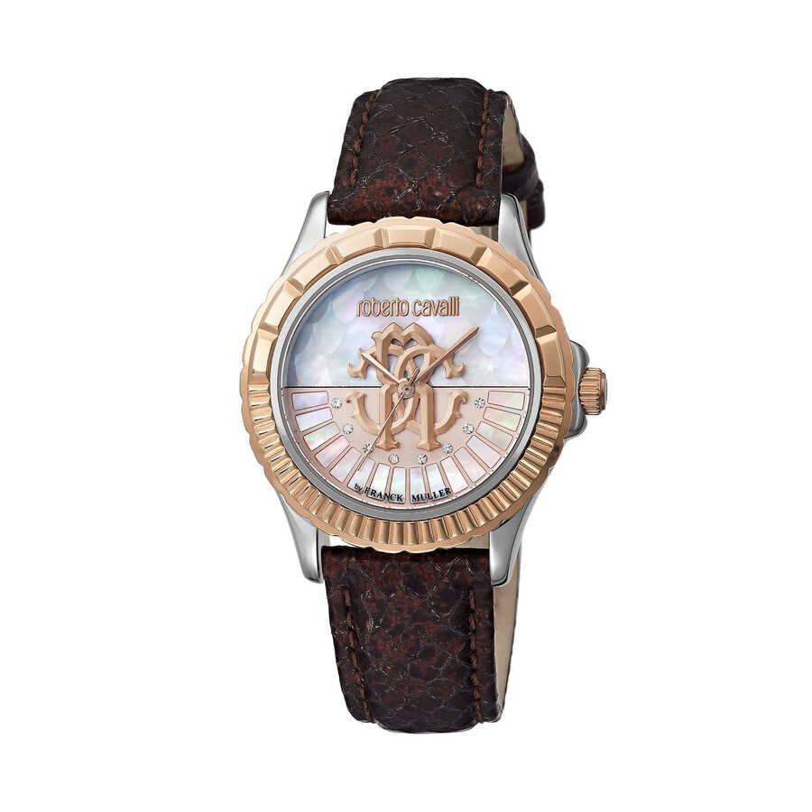 Roberto Cavalli White Mother of Pearl Dial Ladies Leather Watch RV2L014L0056