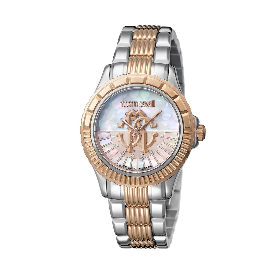 Roberto Cavalli White Mother of Pearl Dial Ladies Two Tone Watch RV2L014M0116