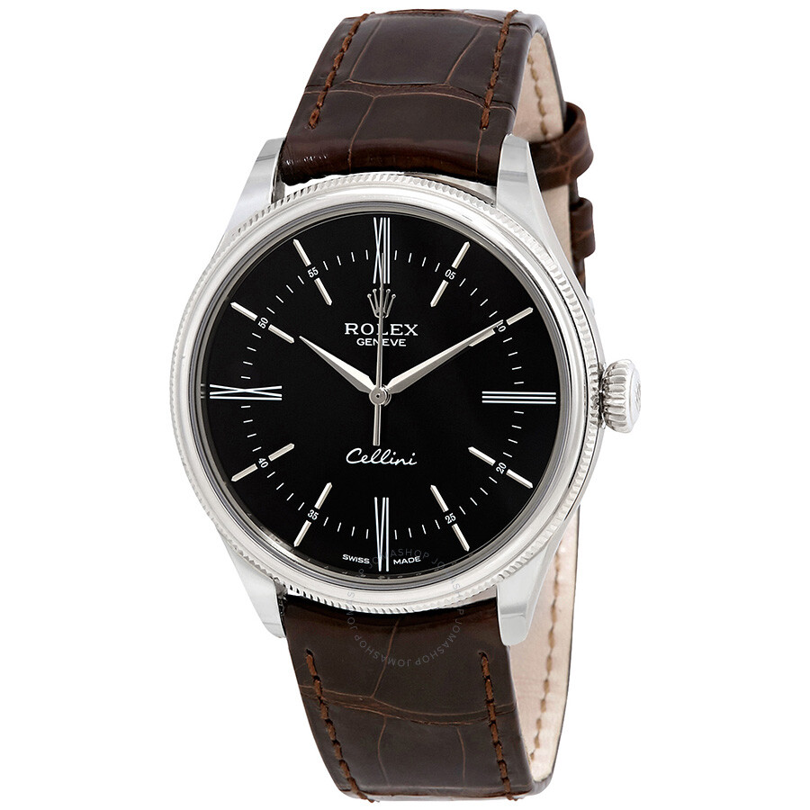 Rolex Cellini Automatic Black Dial Brown Leather Mens Watch 50509BRSL