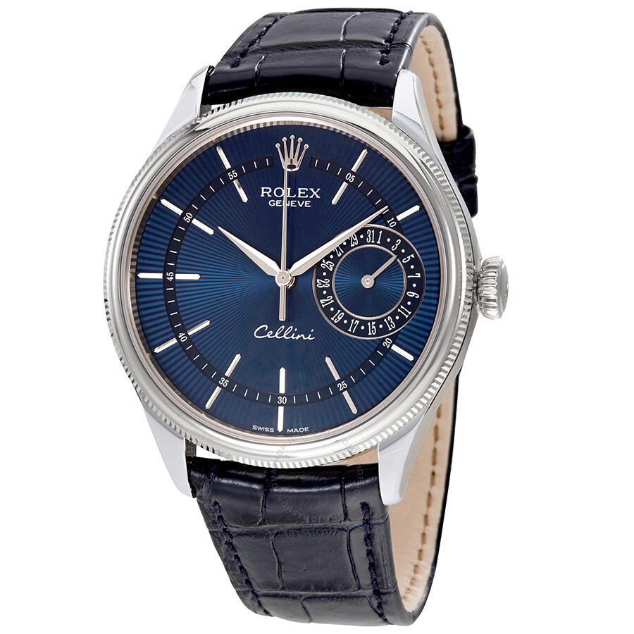 Rolex Cellini Blue Guilloche Dial Automatic Mens Leather Watch 50519BLSBLL