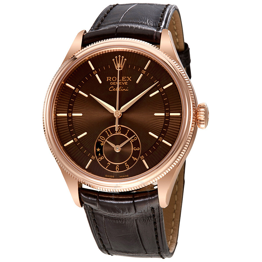 Rolex cellini brown guilloche dial automatic men 39 s 18k everose gold leather watch 50525brsbrl for Rolex cellini
