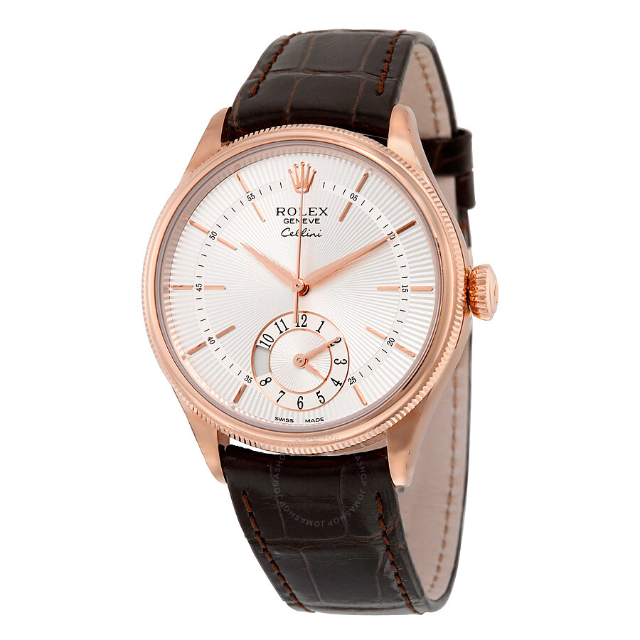 Rolex Cellini Dual Time Silver Dial 18kt Everose Gold Mens Watch 50525SSBRL