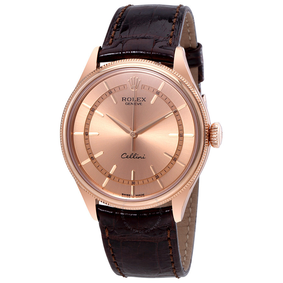 Rolex cellini pink dial diamond 18k everose gold men 39 s watch 50505pksbrl cellini rolex for Rolex cellini