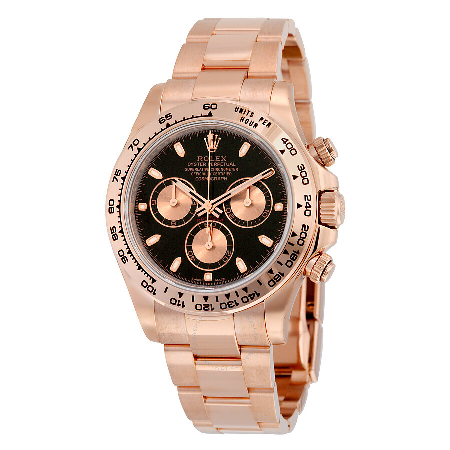 Rolex cosmograph daytona black dial 18k everose gold oyster bracelet automatic men 39 s watch for Rolex watch