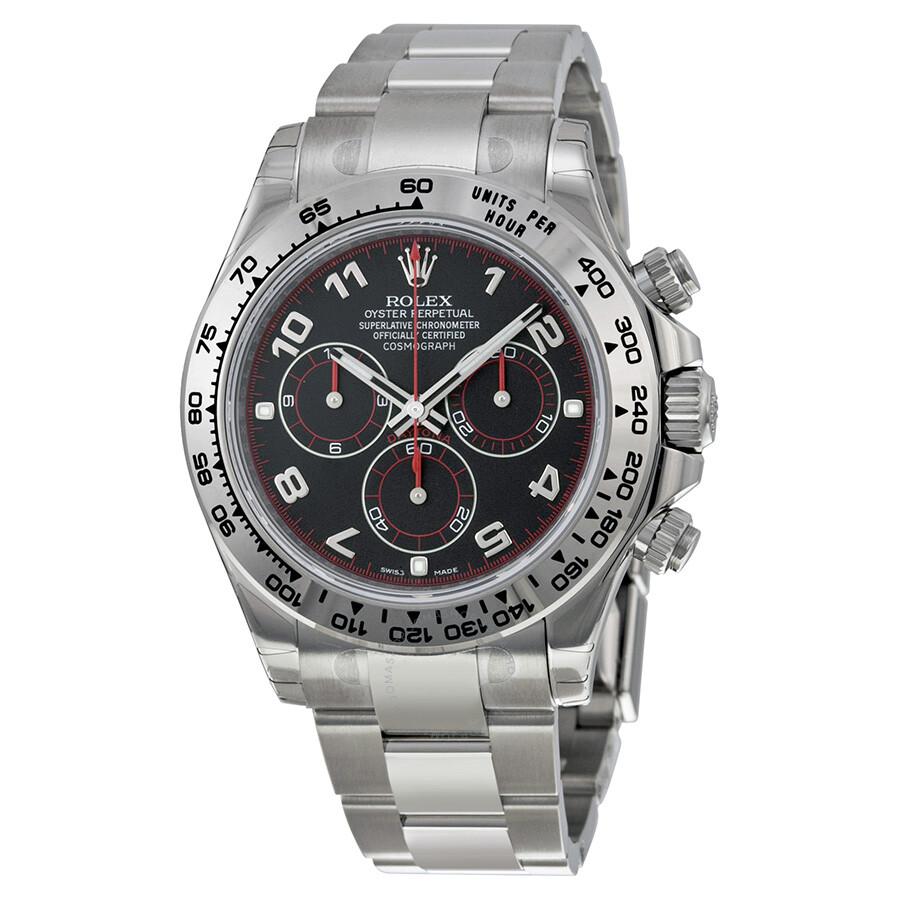 Rolex cosmograph daytona black dial 18k white gold oyster bracelet automatic men 39 s watch for Rolex cosmograph daytona