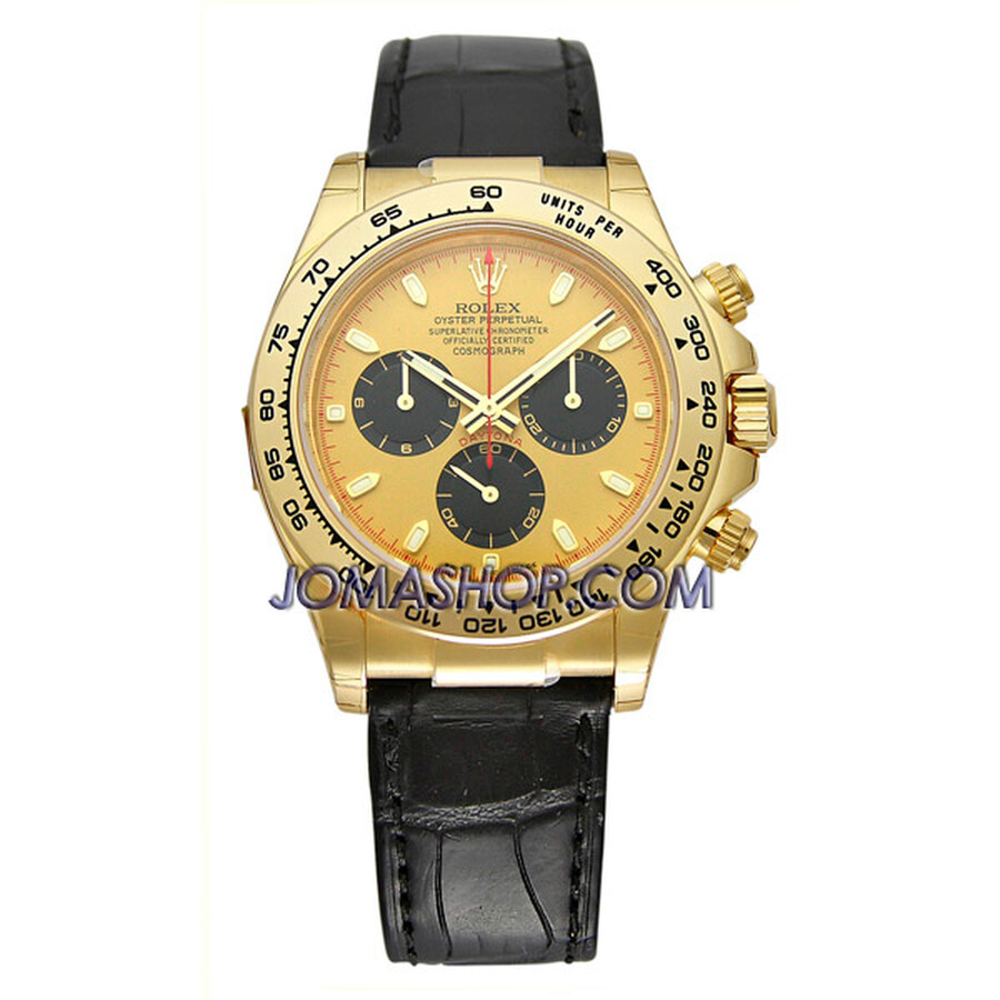 Rolex Cosmograph Daytona Champane Dial Black Leather Bracelet Mens Watch 116589MDL