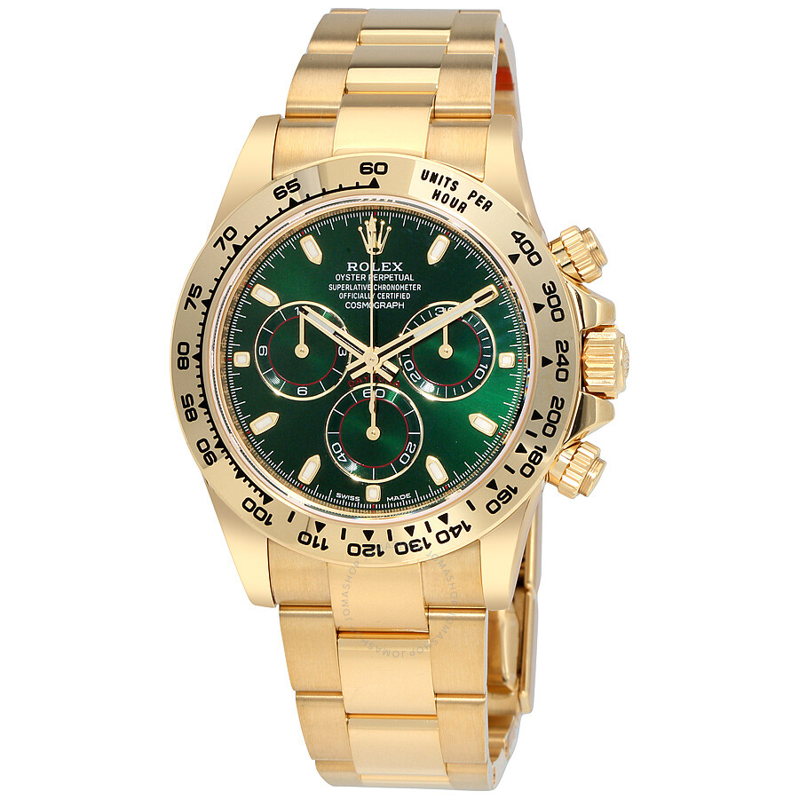 Rolex cosmograph daytona green dial 18k yellow gold oyster men 39 s watch 116508grso cosmograph for Rolex cosmograph daytona