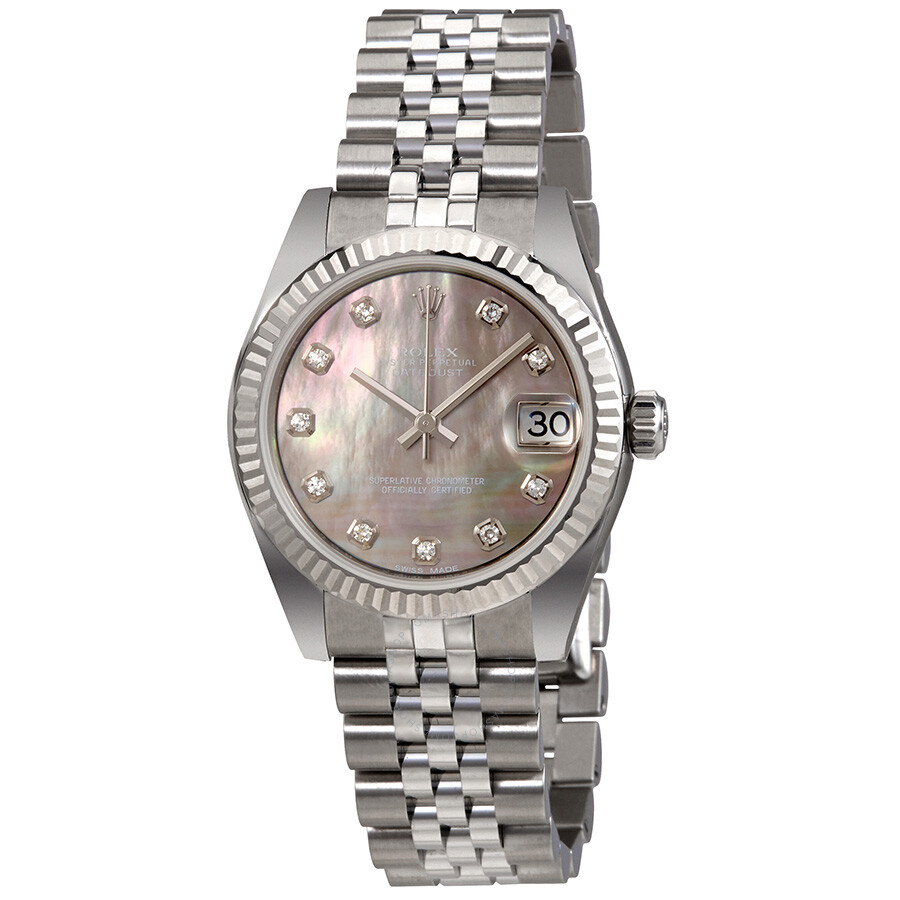 Rolex Datejust 31 Black Mother of Pearl Dial Automatic Ladies Watch 178274BMDJ