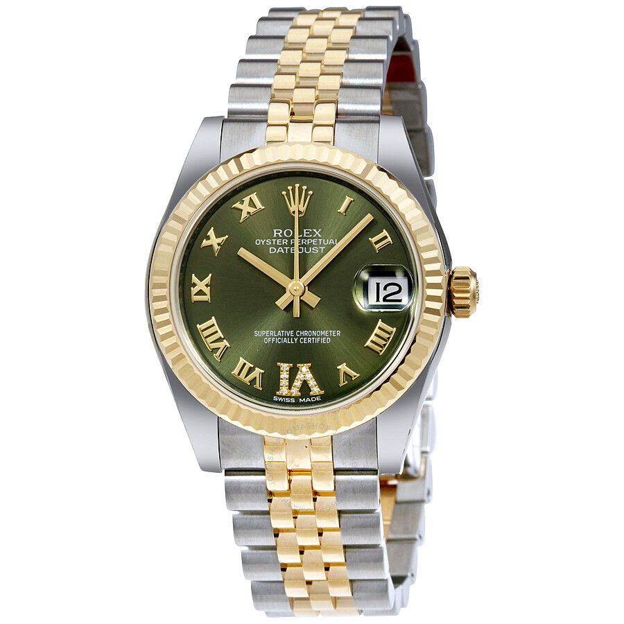 Rolex datejust 31 green roman numeral diamond dial steel and 18k yellow gold ladies watch for Rolex date just 31