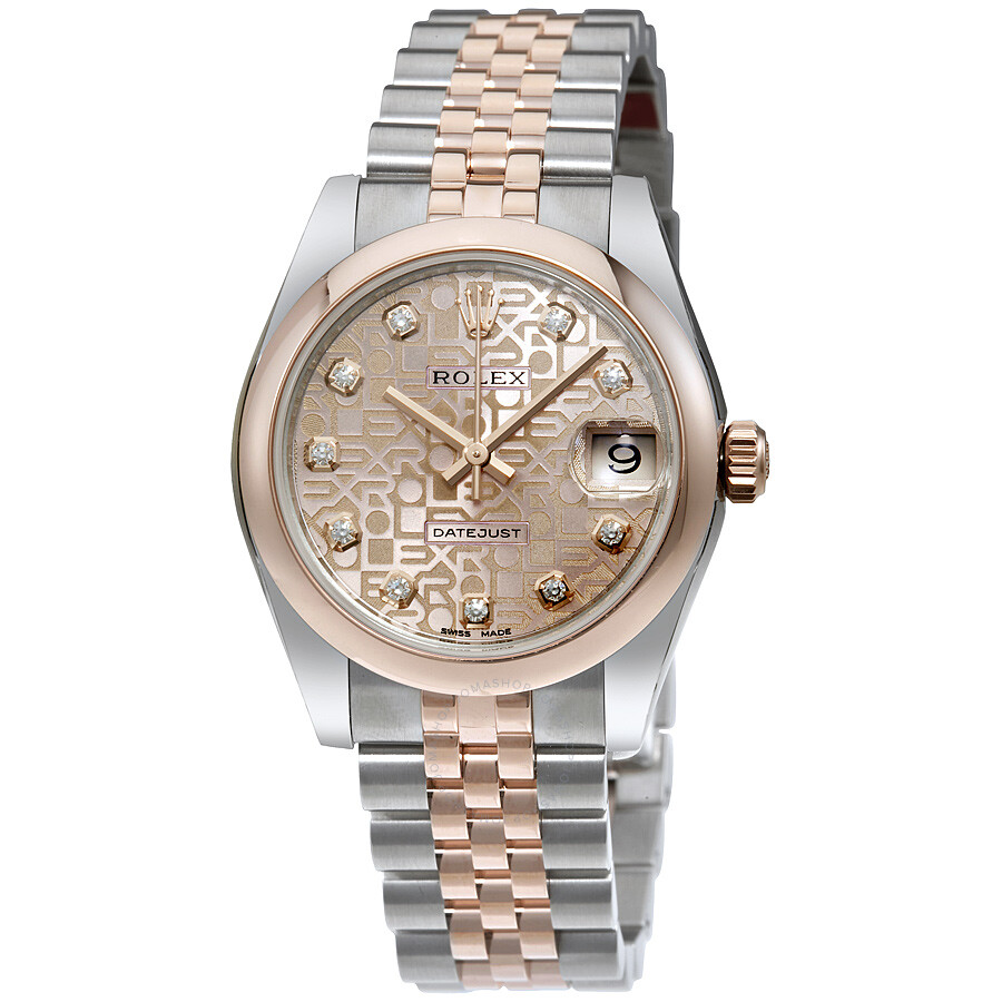 Rolex datejust 31 pink jubilee diamond dial steel and 18k everose gold ladies watch 178241pkjdj for Rolex date just 31