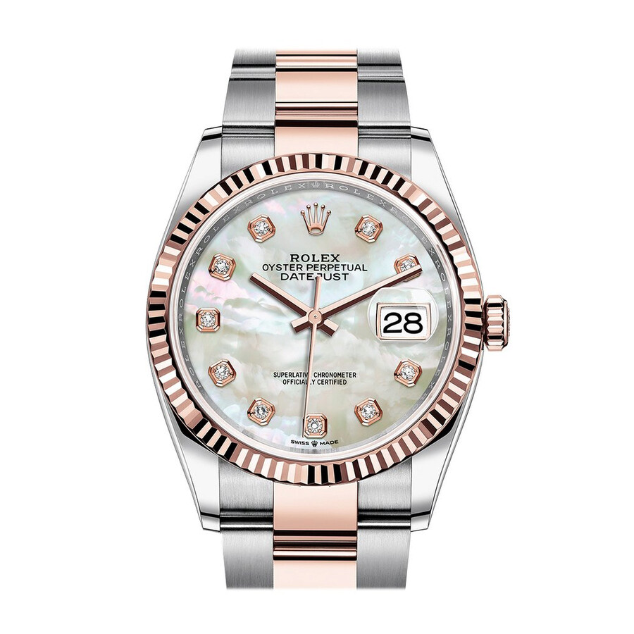 Rolex Datejust 36 Automatic Mother of Pearl Diamond Dial Mens Steel and 18kt..