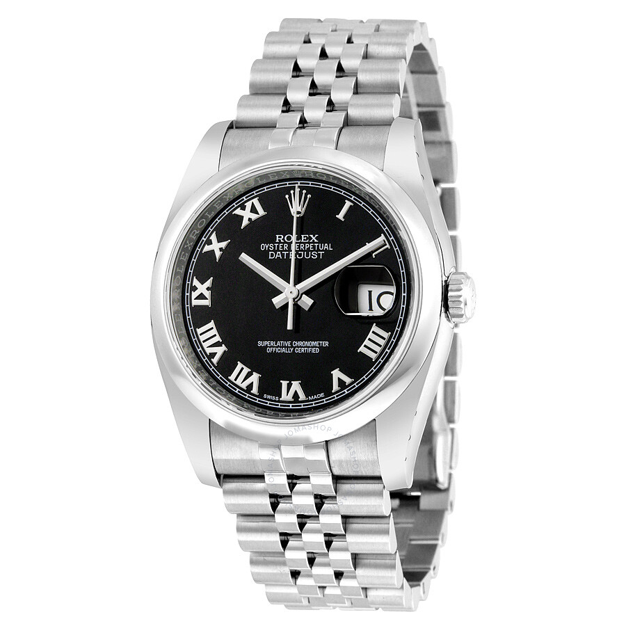 Rolex datejust 36 black dial stainless steel jubilee bracelet automatic men 39 s watch 116200bkrj for Rolex date just 36