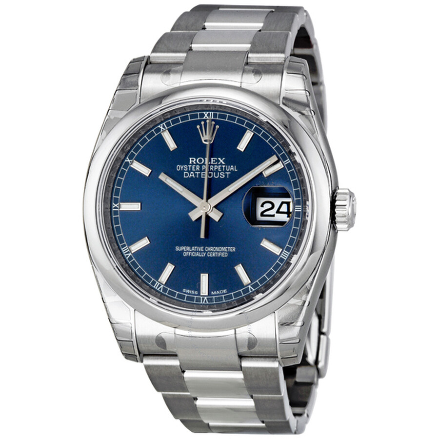 Rolex datejust 36 blue dial automatic men 39 s watch 116200blso datejust rolex watches jomashop for Rolex date just 36
