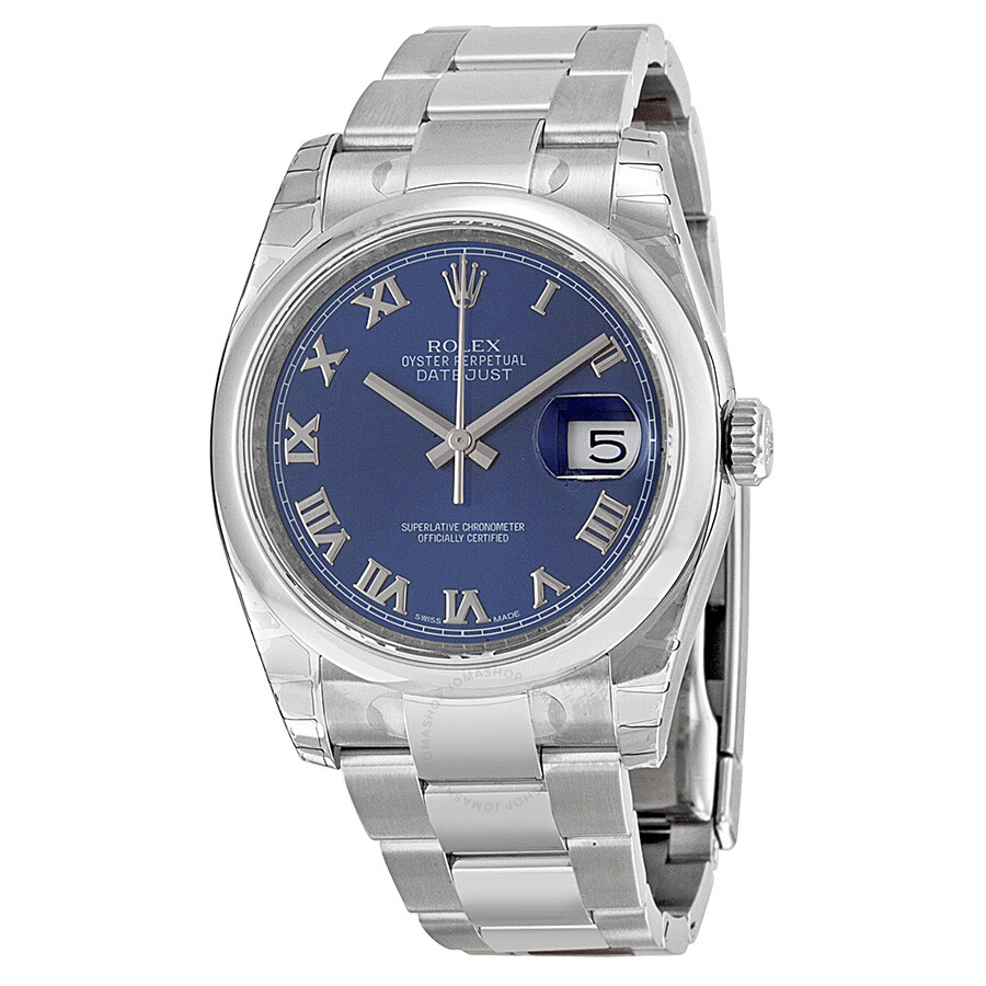 Rolex datejust 36 blue dial stainless steel oyster bracelet automatic men 39 s watch 116200blro for Rolex date just 36