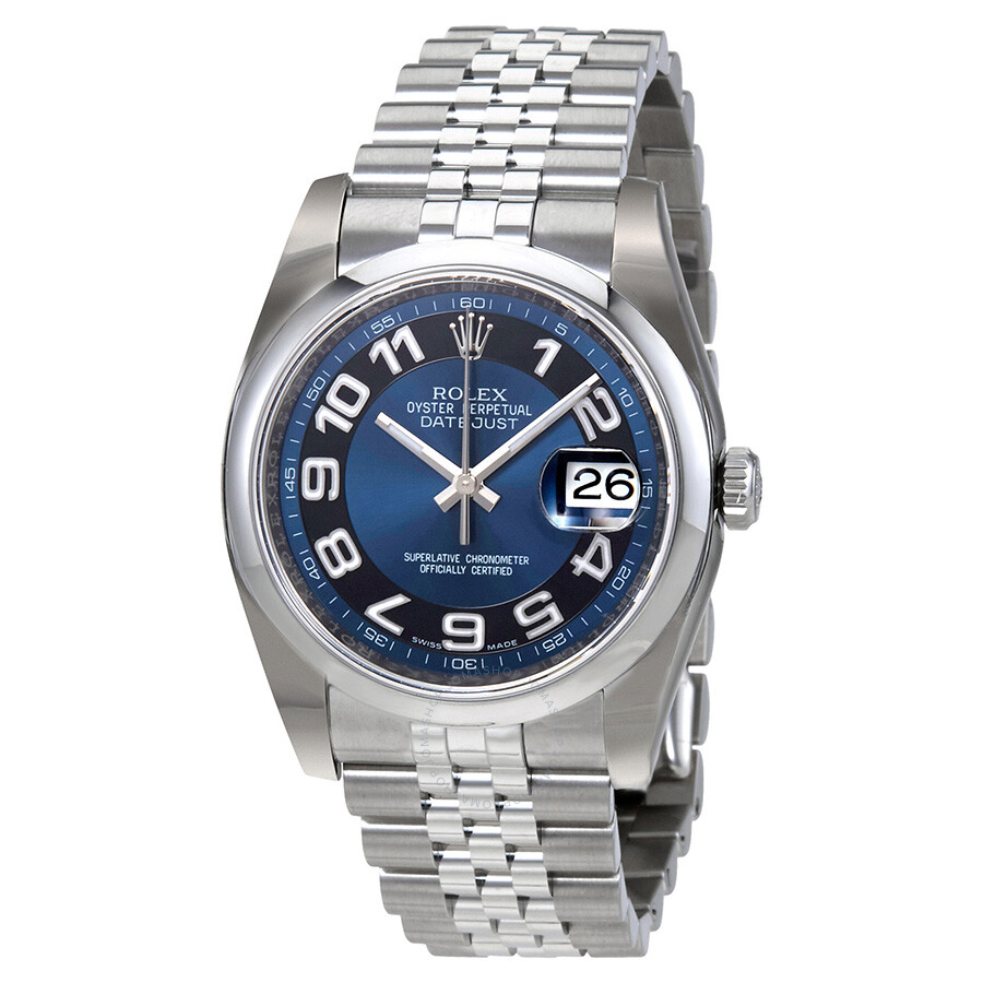 Rolex datejust 36 blue with black ring dial stainless steel jubilee bracelet automatic men 39 s for Rolex date just 36