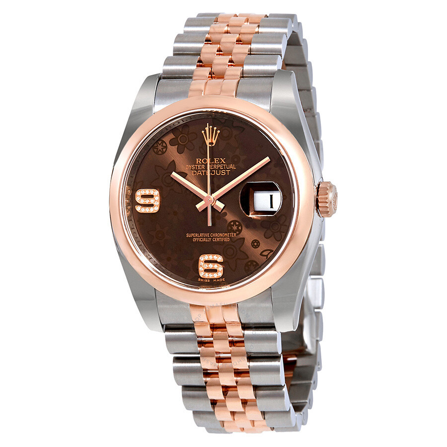 Rolex datejust 36 brown floral dial steel and 18k everose gold ladies watch 116201brfdaj for Rolex date just 36