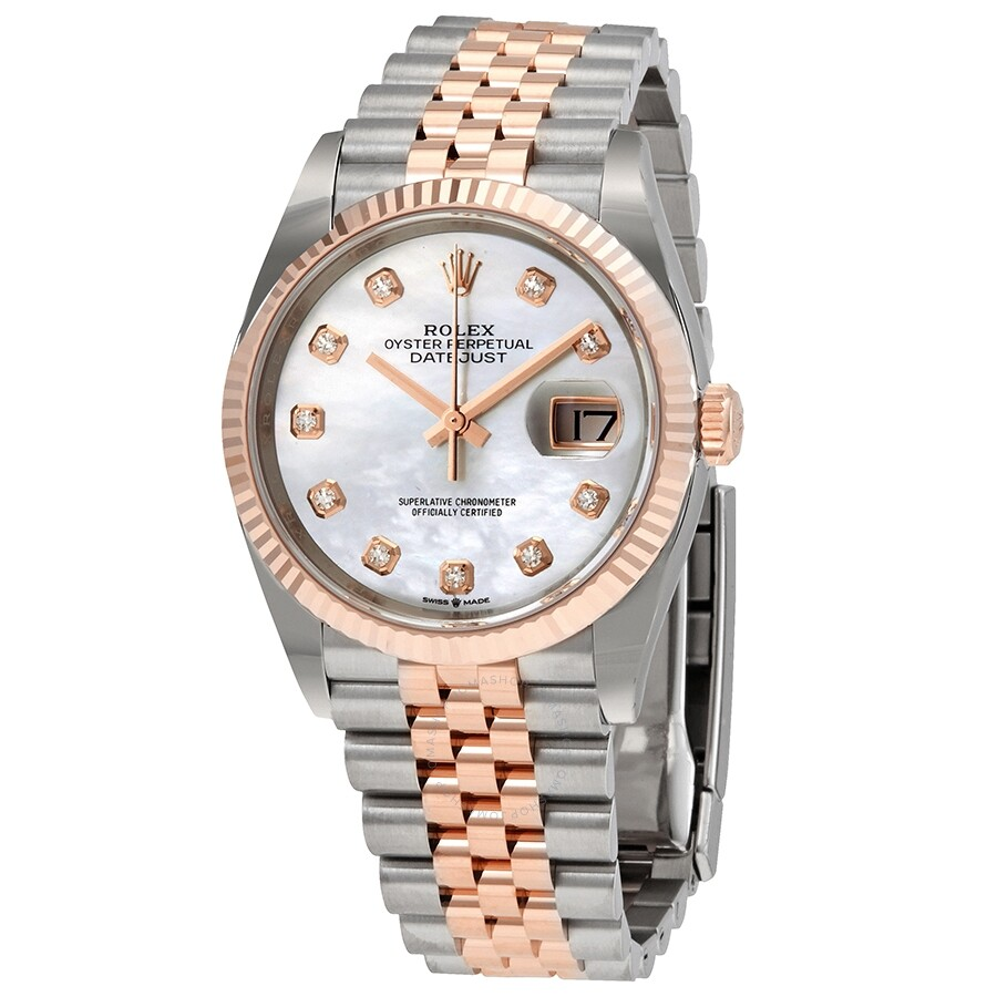 Rolex Datejust 36 Mother of Pearl Diamond Dial Automatic Mens Steel and 18kt..