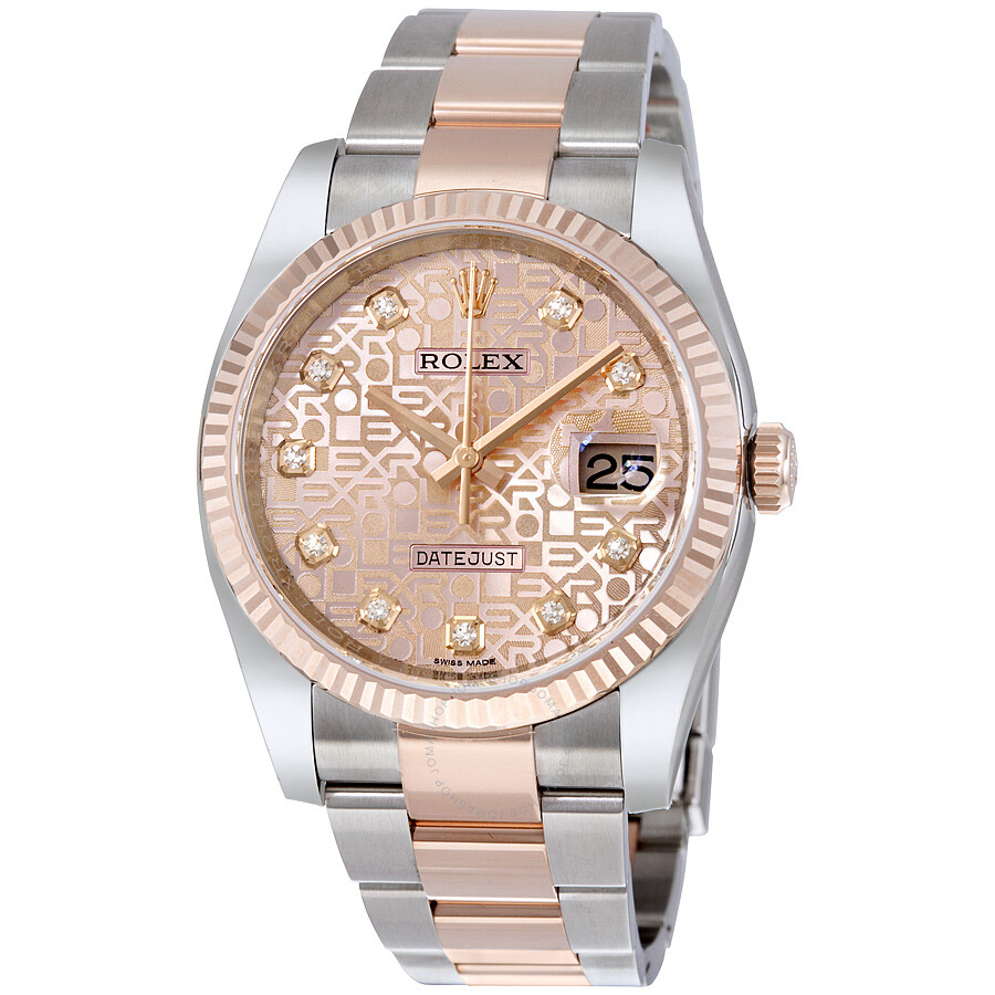 Rolex datejust 36 pink jubilee steel and 18k everose gold oyster men 39 s watch 116231pjdo oyster for Rolex date just 36
