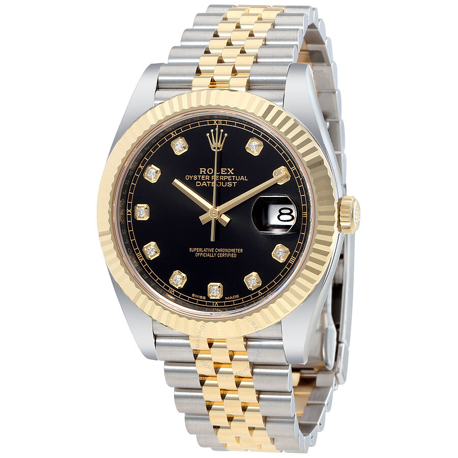 Rolex datejust 41 black diamond dial stee and 18k yellow gold jubilee men 39 s watch 12633bkdj for Diamond dial watch