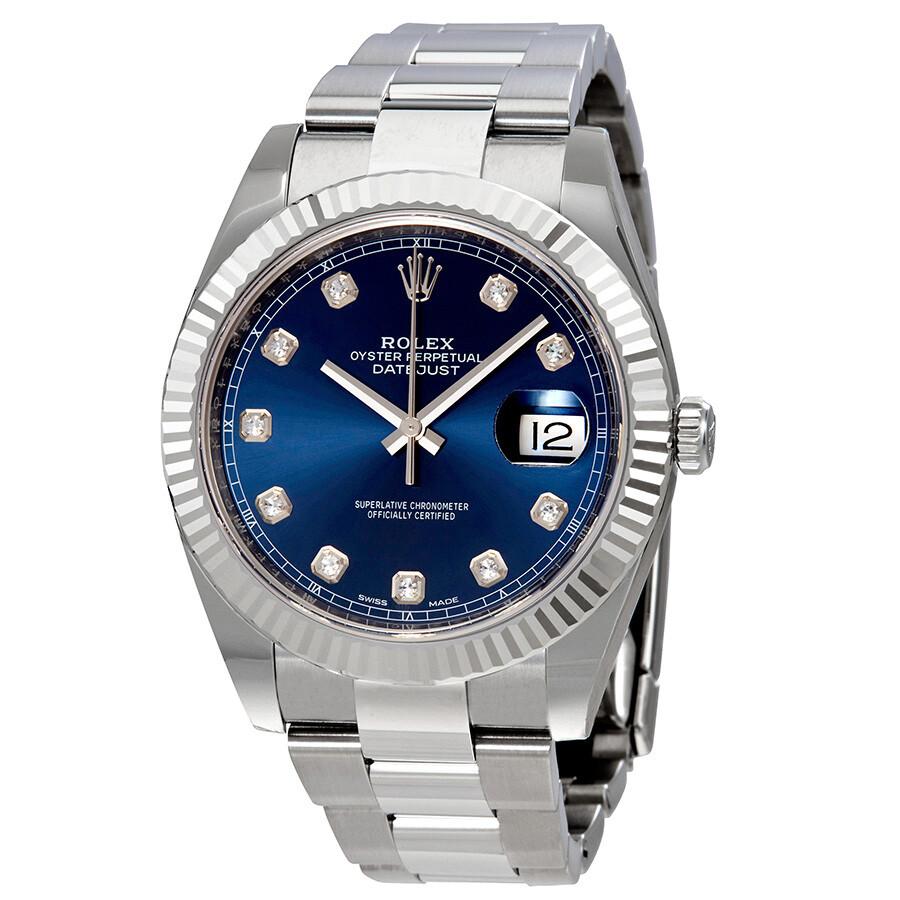 Rolex datejust 41 blue diamond dial automatic men 39 s watch 126334bldo datejust rolex for Rolex watch
