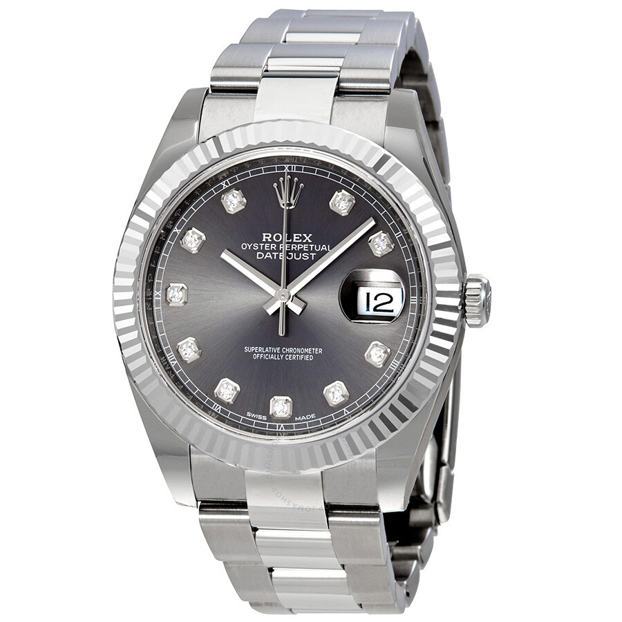 Rolex Datejust 41 Rhodium Diamond Dial Automatic Mens Watch 126334RDO