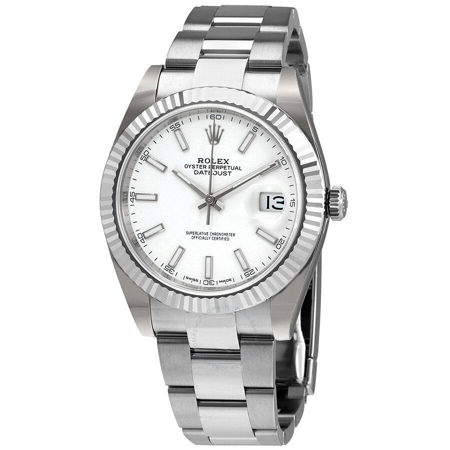 Rolex Datejust 41 White Dial Oyster Automatic Mens Watch 126334WSO