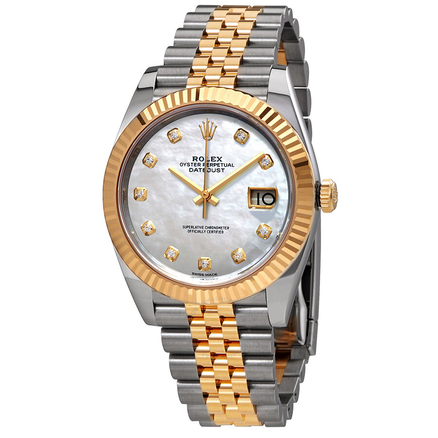 Rolex Datejust 41 White Mother of Pearl Dial Automatic Mens Steel and 18K Ye..