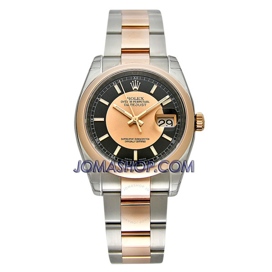 Rolex Datejust Black and Rose Gold Index Dial Oyster Bracelet Two Tone Mens Watch 116201BKPSO