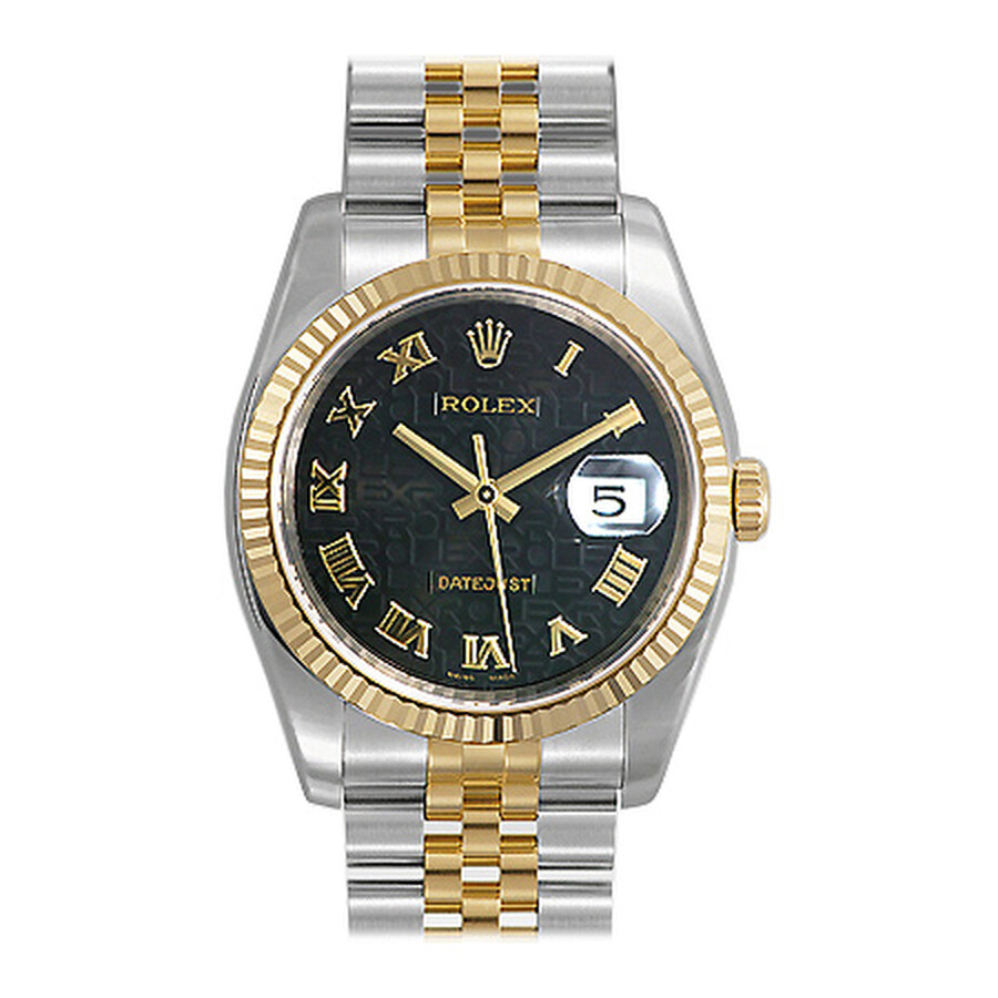 Rolex Datejust Black Dial Stainless Steel and 18k Yellow Gold Mens Watch 116233BKJRJ