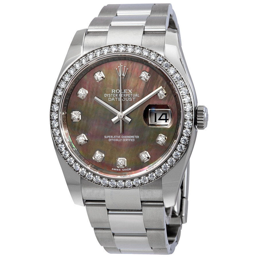 Rolex Datejust Black Mother of Pearl Diamond Dial Automatic Ladies Oyster Wa..