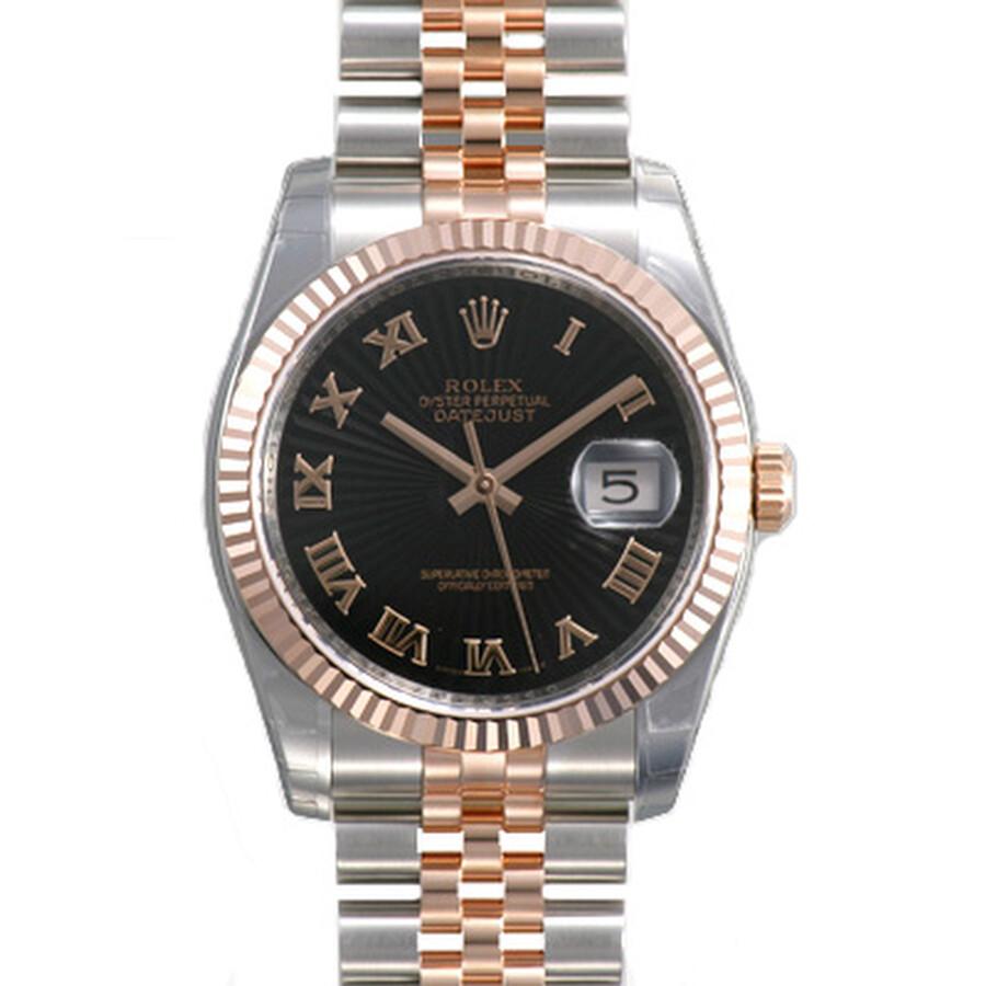 Rolex Datejust Black Sunburst Roman Dial Fluted 18k Rose Gold Bezel Jubilee Bracelet Mens Watch 1162