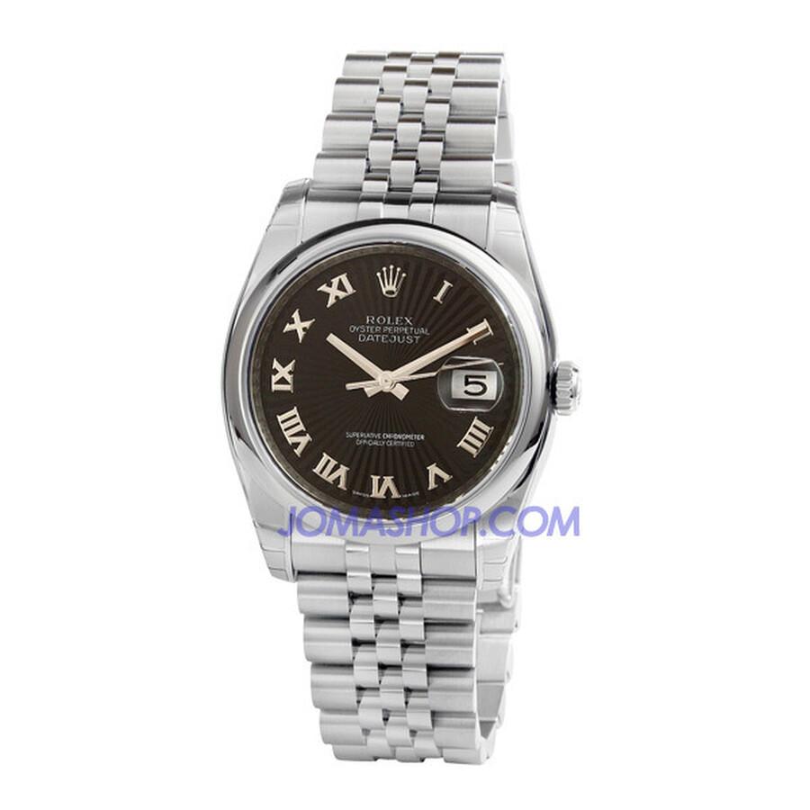 Rolex Datejust Black Sunburst Roman Dial Jubilee Bracelet Mens Watch 116200BKSBRJ